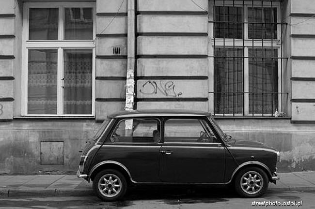 Mini Morris Samochód Motoryzacja Fotografie Czarno Białe